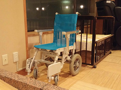 Wheelchair for bathing