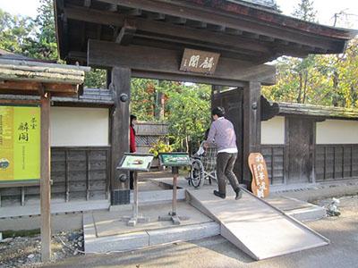 Entrance of Japanese garden of tea room